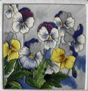Hand Crafted Ceramic Art Tile Flowers